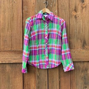 Lilly Pulitzer Plaid Button Down Shirt Size 2